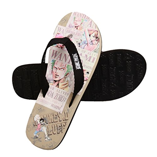 Bromeo One Piece Anime Unisex Flip Flops Chanclas 34