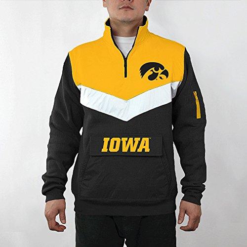 Elite Fan Shop Iowa Hawkeyes 1/4 Zip Sweatshirt Captain - XXL - Black