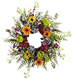 Artificial Plantz Front Door Wreath -24 Inch Spring Garden Wreath with Twig Base