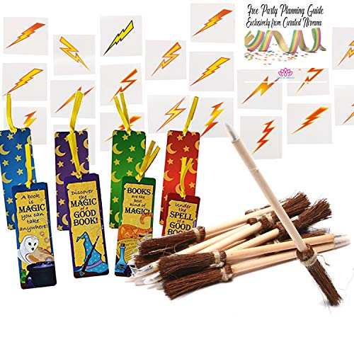 - Fun Express Curated Nirvana Wizard and Mage Party Favor Bundle Including Witch's Broom Pens, Wizards Academy Bookmarks, and Lightning Bolt Tattoos | Perfect for Birthday Parties or Award Favors