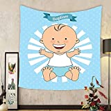 Gzhihine Custom tapestry Baptism Decorations Tapestry Baptism Design Happy Boy Christening Striped Dotted Background Christian Religion Theme Bedroom Living Room Dorm Decor