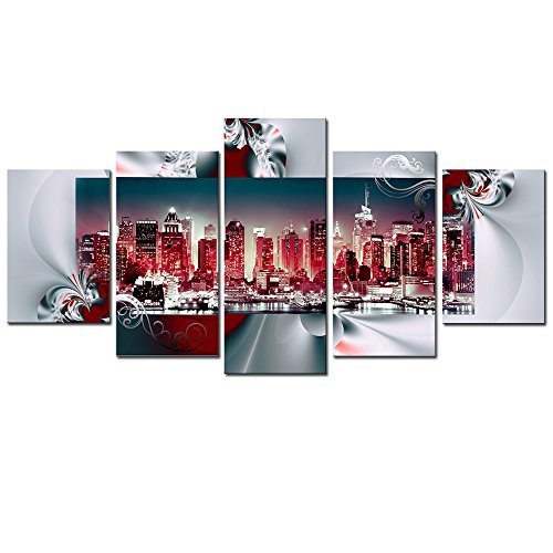 AWLXPHY Decor New York Wall Art Canvas Framed Painting for Living Room Decor 5 Pieces Modern Cityscape NY City Skyline Red and White Red HD Print Abstract Picture Small Red, W40 x H20