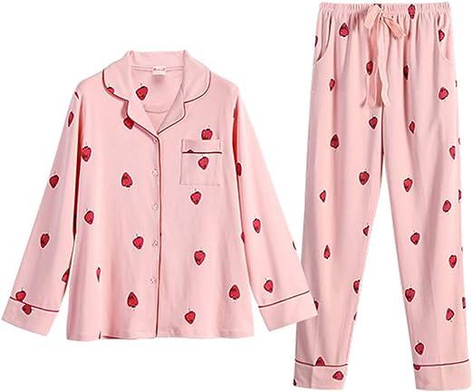 Camisones Pijamas Conjunto algodón con Punto de Dormir de Color Rosa Pijamas para Hembras con Cuatro Temporadas, Dulce Estampado, Estampado casero, Dos Piezas Pijamas de una Pieza: Amazon.es: Hogar
