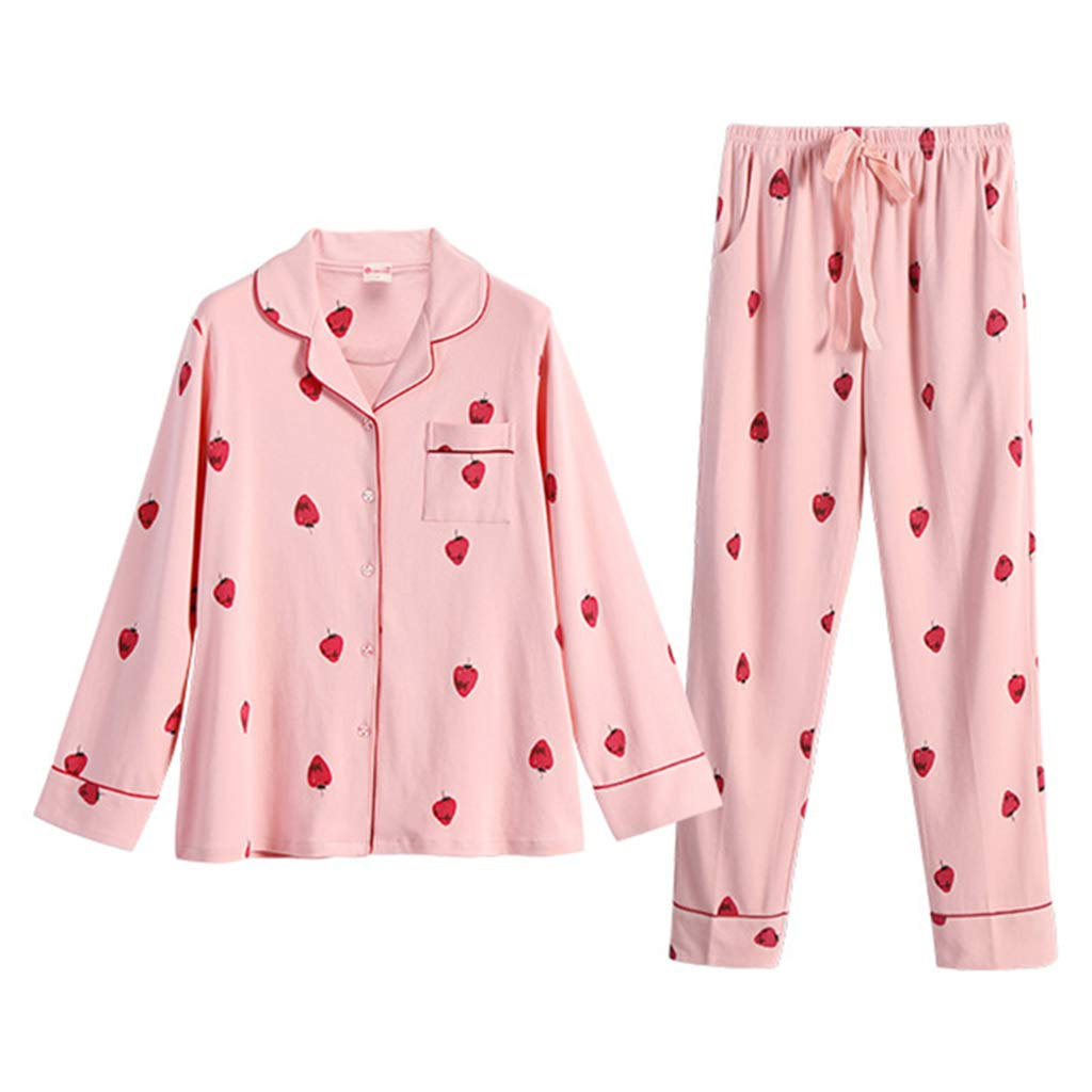 0860ba5dda Nightwear Pink dot nightwear cotton nightgown set Pajamas for females  applicable four seasons sweet printed loose homedressing two pieces Pyjama ( Color ...