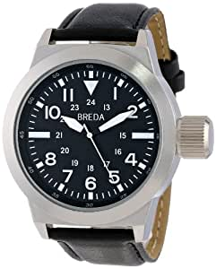 Breda Men's 1638-Silver/Black Silver-Tone Watch with Synthetic Leather Strap