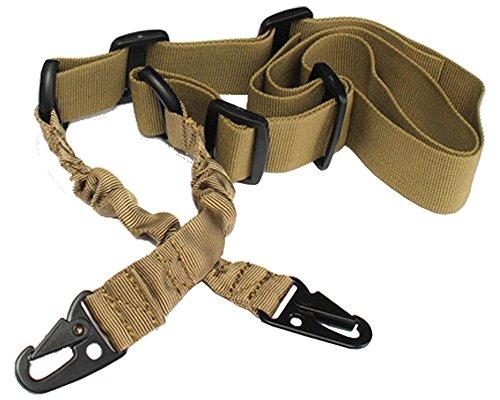 TukTek Two Point Tactical Rifle Gun Sling Adjustable Strap & Bungee (Muddy, Two Point)