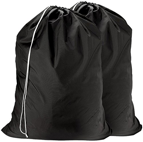 Nylon Laundry Bag - Locking Drawstring Closure and Machine Washable. These Large Bags will Fit a Laundry Basket or Hamper and Strong Enough to Carry up to Three Loads of Clothes. (Black | 2-PACK) by Handy Laundry