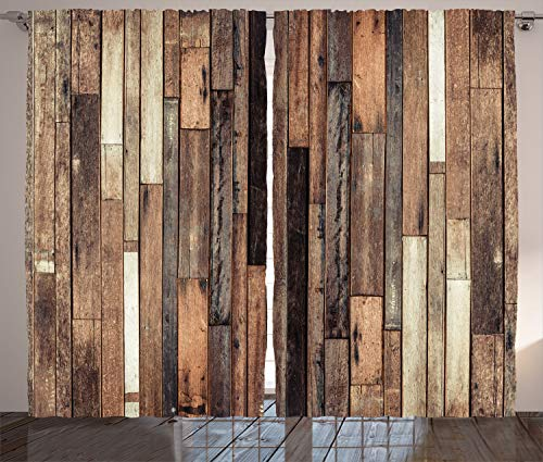 Ambesonne Wooden Curtains, Brown Old Hardwood Floor Plank Grunge Lodge Garage Loft Natural Rural Graphic Print, Living Room Bedroom Window Drapes 2 Panel Set, 108
