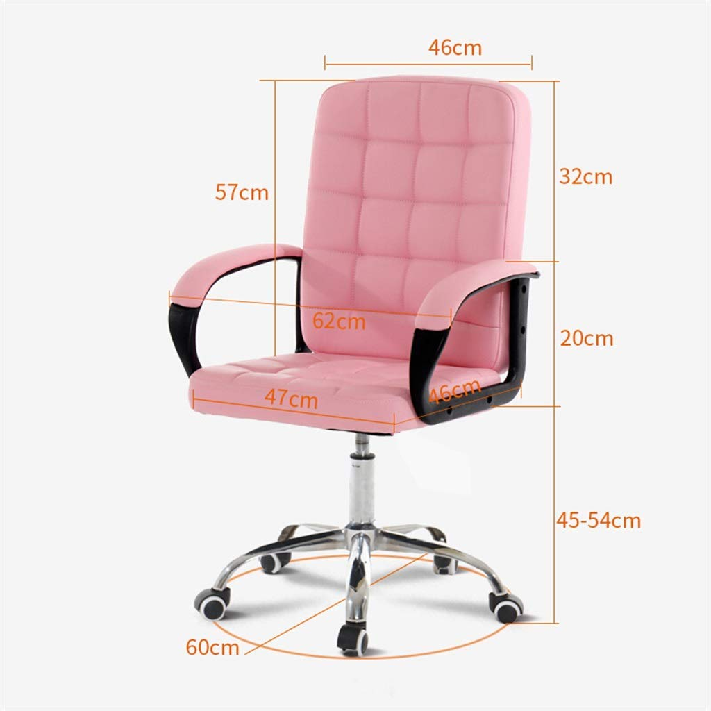 Stol möbler ergonomisk PU mitten av ryggdator, kontor falskt läder svängbart skrivbord, justerbar höjd | 360° rotation Rosa