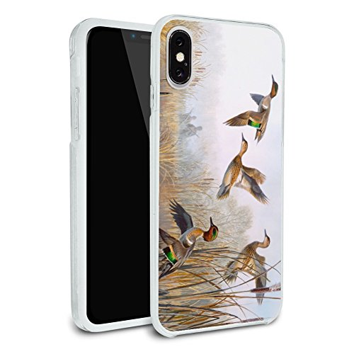 (Green-Winged Teal Ducks Taking Flight Hunters Hunting Protective Slim Fit Hybrid Rubber Bumper Case Fits Apple iPhone X)