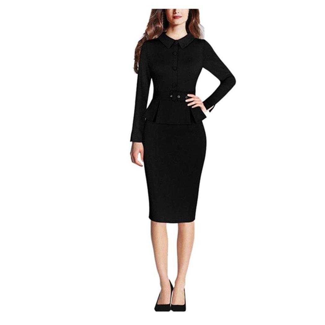 Anxinke Women Solid Long Sleeve Bodycon Turn-Down Collar Peplum Formal Pencil Dress (Black, L)