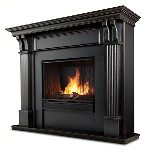 Solid Mahogany Fireplace Mantel (Ashley Gel Fireplace in Mahogany (Black Wash))