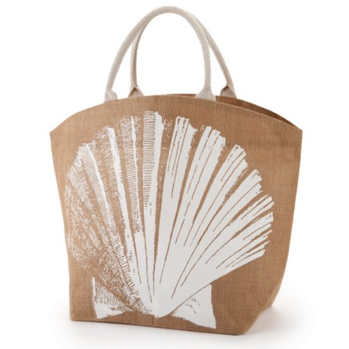 Two's Company Seascape Burlap Jute Tote Town City Beach Bag (Scallop)