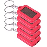 HDE 5x Emergency 3 LED Torch Flashlight Key Fob Solar Energy Power Keychain Lamp Light (Red)