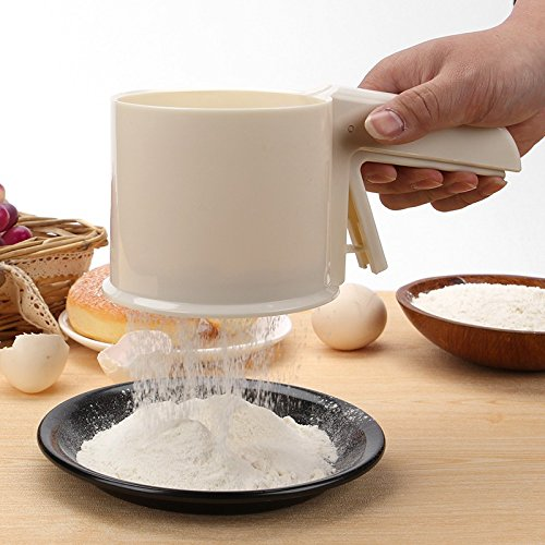 Cake Flour Sifter Plastic Baking Tool Mesh Mechanical Baking Icing Sugar Semi-automatic Shaker Sieve Make Cup (Mesh Icing Grate)