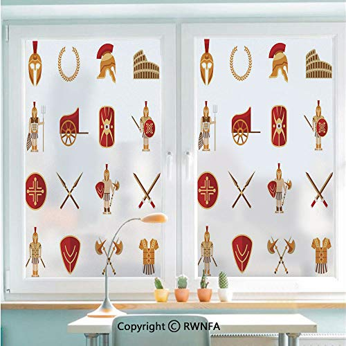 Window Films Privacy Glass Sticker Fighters Gladiators Greek Antiquity Warriors Icons Set in Graphic Style Decorative Static Decorative Heat Control Anti UV 22.8In by 35.4In,Orange Brown Red
