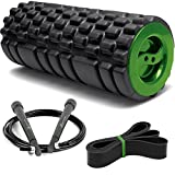 Foam Roller with Jumping Rope and Resistance Loop Band: Mini Gym - Trigger Point Massage Roller Set for Muscles - Exercise Foam Roller for Training