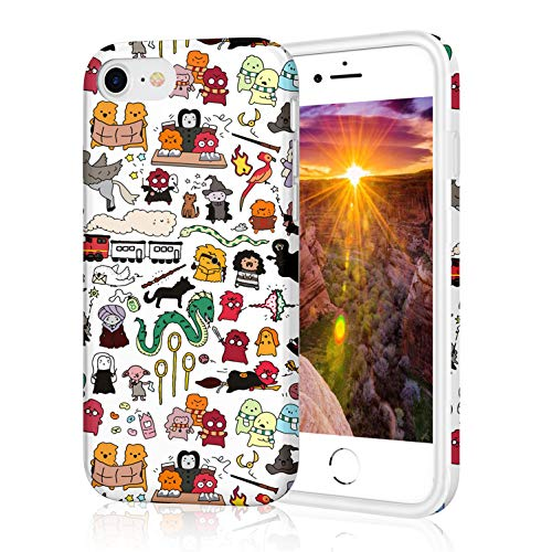 iPhone 8 Case with IMD Technology [Anti-Scratch] [Anti-Slip] [Ultra-Thin] [Supports Wireless Charging] for Apple iPhone 7/iPhone 8 (Kawaii Harry Potter Doodle) (Harry Potter Deathly Hallows Part 1 3d)