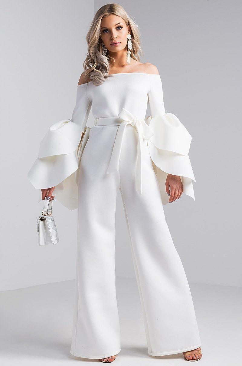 AKIRA Women's Ruffle Petal Sleeve Waist Cinch Tie Belt Scuba Off Shoulder  Thick Stretch Bodycon Wide Leg Jumpsuit