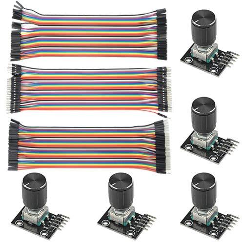 WMYCONGCONG 5 PCS KY-040 Rotary Encoder Module Brick Sensor Board with Knob Cap + 120 PCS Multicolored Breadboard Jumper Wires Ribbon Cables Kit