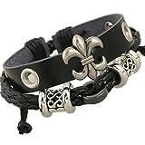 TEMEGO Jewelry Mens Womens Genuine Leather Wrap Bracelet, Vintage Gothic ...