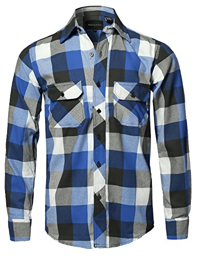 Burgundy Flannel (Style by William Casual Plaid Flannel Woven Long Sleeves Button Down Shirt White Royal Blue 4XL)