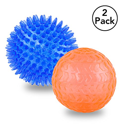 Petbobi Dog Squeak Ball Toys Durable Pet Spike Ball Toy for Tooth Cleaning Exercise Training Entertainment for Pets Chewing Resistance to Bite TPR Ball 2 Pack Color Random Review