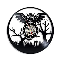 Levescale - Owl Vinyl Wall Clock - Vintage Style for Children, Boys, Girl - Decoration for Kitchen, Living Room - Forest - Owl Wisdom - Bird - Gothic - Night - Animal Theme - Eagle owl
