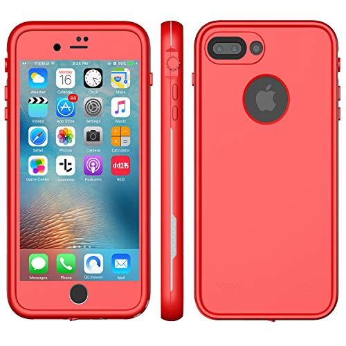 LOVE BEIDI XLF iPhone 8 Plus Waterproof CASE (Red & Gray (iPhone 7/8 Plus 5.5