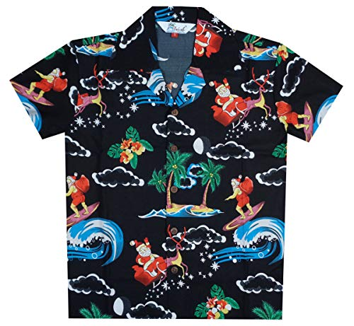 (Alvish Hawaiian Shirts 41B Boys Christmas Santa Beach Aloha Party Camp Black)