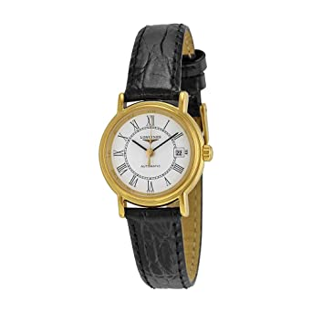 44e61696867 Image Unavailable. Image not available for. Color: Longines Presence  Automatic White Dial Black Leather Ladies Watch L43212112