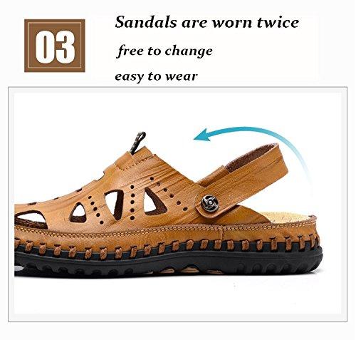 chiusa in Pakamo Trekking sportivi Scarpe esterno pelle pantofole da punta spiaggia Sandali yellow da da da Comode uomo NANXIE da uomo Sandali uomo a Walking dfwfvI