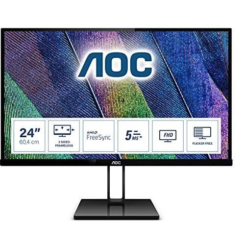 AOC 23.8-inch LED Monitor with Display Port, HDMI Port, Ultra Slim – 24V2Q (Black)