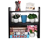 PAG Office Supplies Desk Organizer Adjustable Wood Desktop Bookshelf Countertop Bookcase Accessories Display Rack,Black