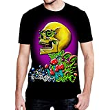 SFYNX 'Clear Vision' Men's Rave T Shirt - Glow in The Dark EDM Clothing - Black Light Reactive Tee (Small)