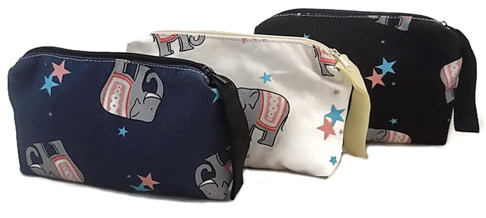 Elephant Print Travel Makeup Bag Small Cosmetic Case Toiletry Organizer Zipper Pencil Pouch, Pack of 3 - Black, White, Blue