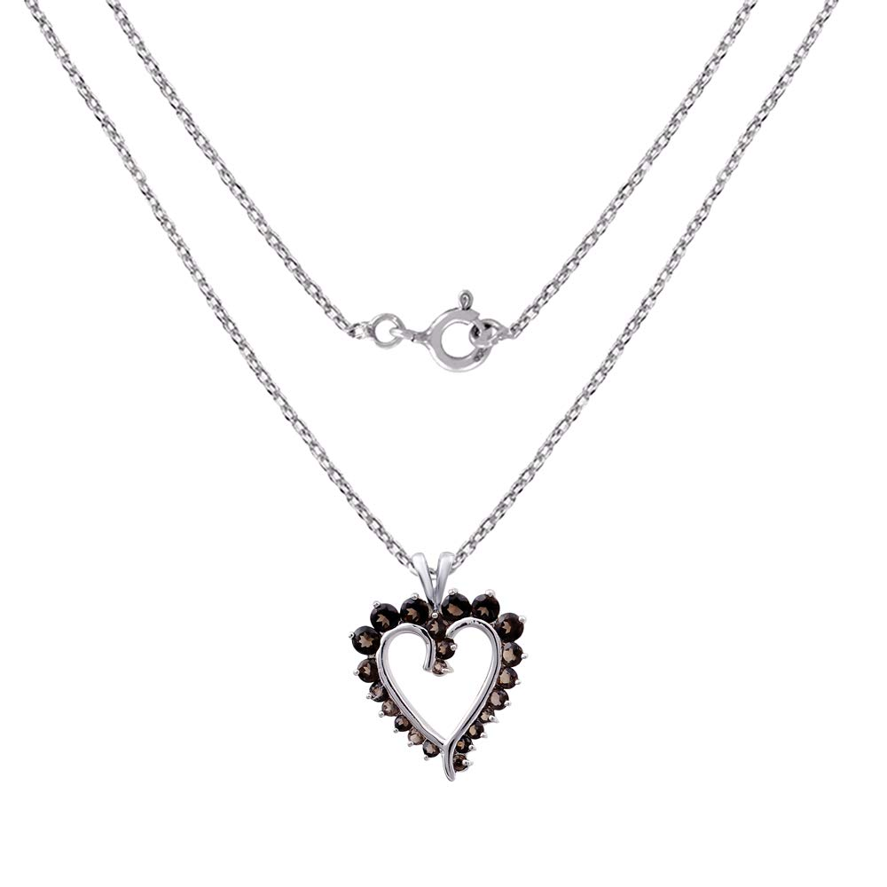 Orchid Jewelry 1.46 Ctw Natural Round Brown Smoky Quartz Sterling Silver Pendant Necklace With an 18 Inch Chain A Lovely Long Chain Pendant Necklace Set For Women A Vintage Vibe