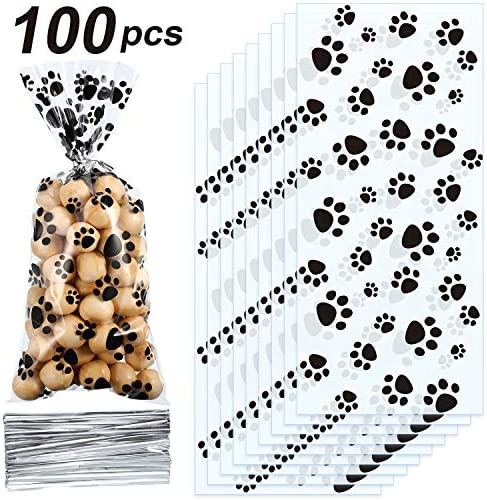Blulu Pet Paw Print Cone Cellophane Bags Heat Sealable Treat Candy Bags Dog Gift Bags Cat Treat Bags with 100 Pieces Silver Twist Ties for Pet Treat Party Favor (100 Pieces)