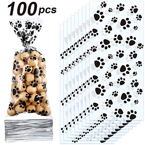 Blulu Pet Paw Print Cone Cellophane Bags Heat Sealable Treat Candy Bags Dog Gift Bags Cat Treat Bags with 100 Pieces Silver Twist Ties for Pet Treat Party Favor (100 Pieces) from Blulu