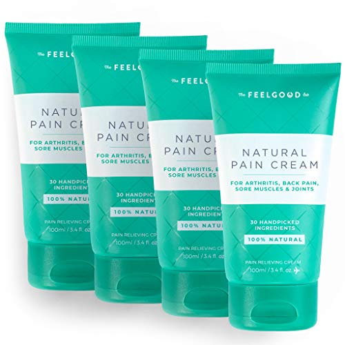 Natural Pain Cream by The Feel Good Lab - Effective Relief with only Clean, Functional Ingredients (4pack, 3.4oz ea)