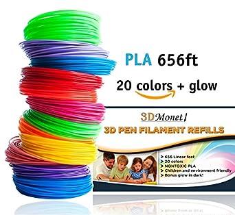 Recambios de filamento para impresora 3D, 20 colores, 656 pies ...