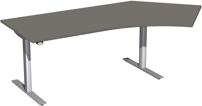 Geramöbel Elektro-Hubtisch 135° rechts höhenverstellbar, 2166x1130x680-1160, Graphit/Silber