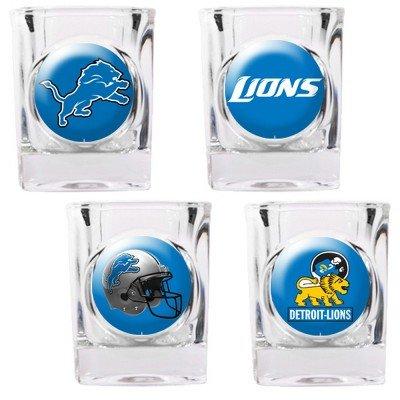 Detroit Lions - 4 Piece Square Shot Glass Set w/Individual Logos