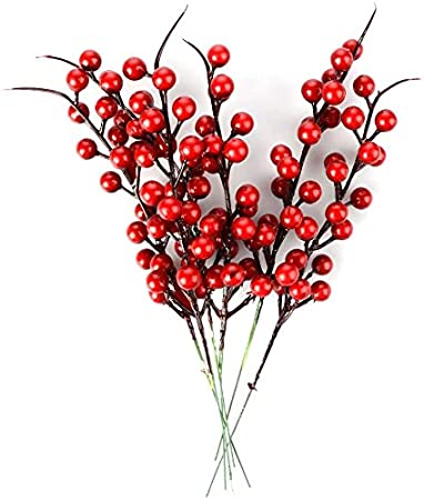 Famyfamy 10 Pcs Artificial Red Berries,18 Inch Artificial Simulation Berry Branch Red Bubble Berry and Pine