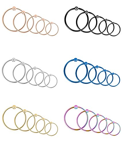 Tornito 30PCS 16G 316L Stainless Steel Nose Ring Hoop Septum Lip Daith Cartilage Helix Tragus Piercing Ring 8MM/10MM/12MM/14MM/16MM