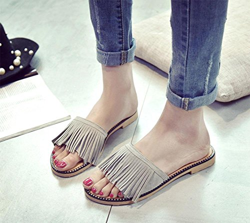 Flache Sandalen und Pantoffeln Wort Drag Frau weibliche Sommer Strandsandalen Quaste Sätze Fuß Schuhe grey