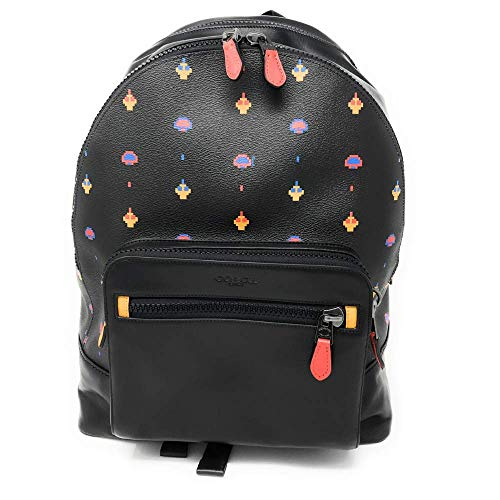COACH BLACK MULTI,BLACK ANTIQUE NICKEL COACH WEST BACKPACK WITH ALLOVER ATARI PRINT,REFINED CALF LEATHER,PRINTED COATED CANVAS, INSIDE TECH SLEEVE,MULTIFUNCTION POCKETS