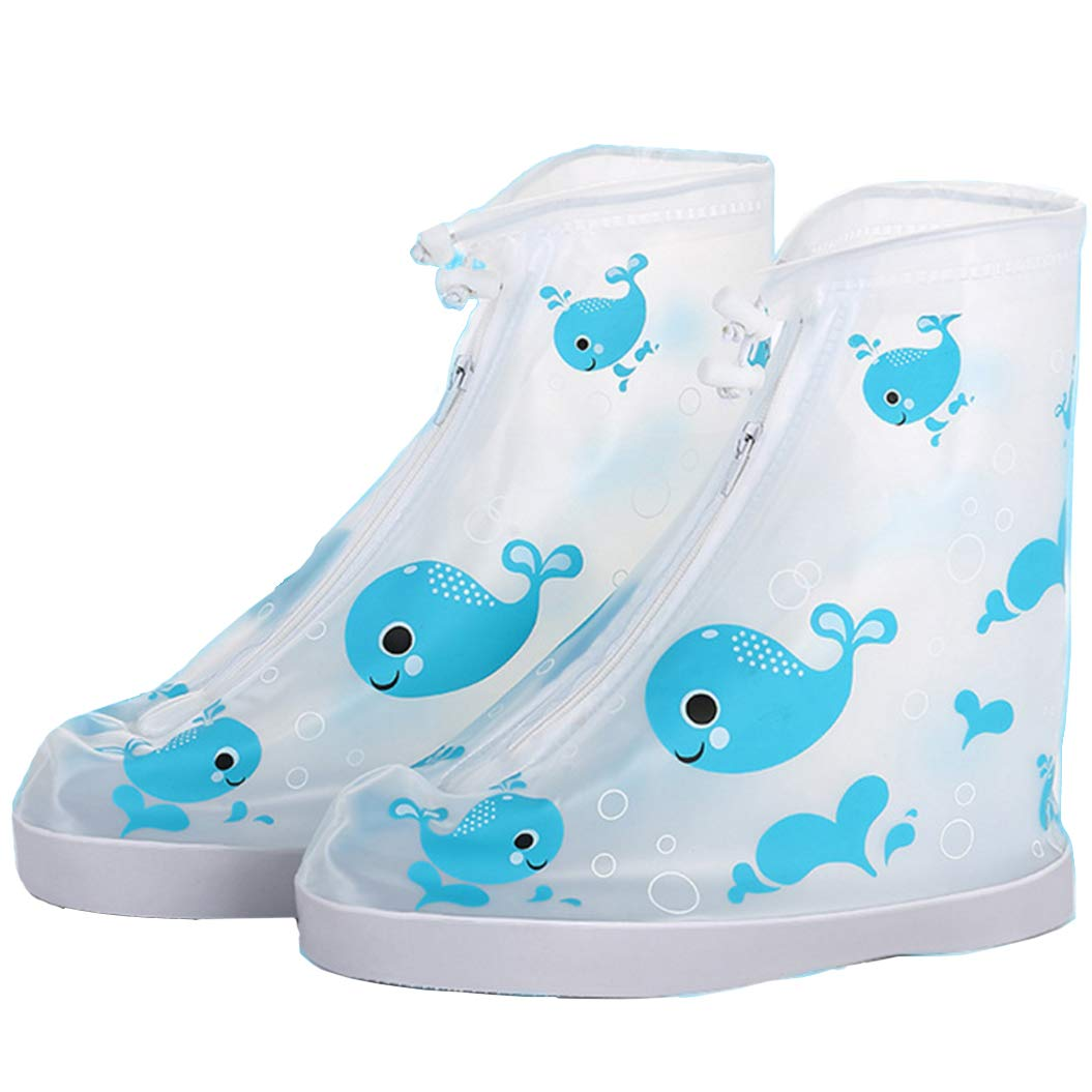 Angel Waterproof Non-Slip Shoes Cover Reusable Rain Snow Boots Outdoor Children (Blue Whale, M:Length:20.5cm/8.07inch) by Angel (Image #1)