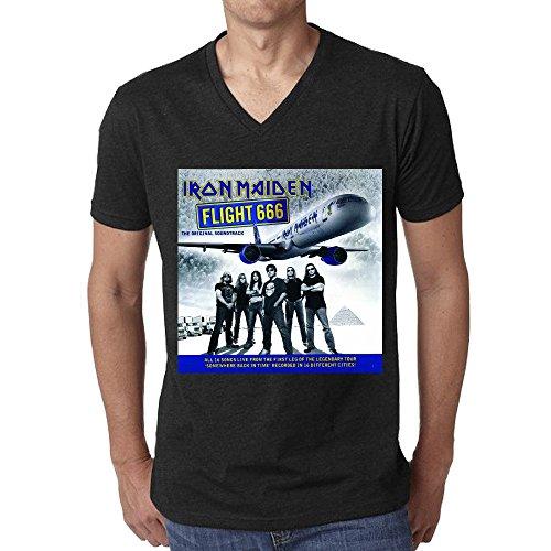 Iron Maiden Flight 666 Original Soundtrack Men T-Shirt V Neck Black
