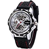 Fanmis Mens Skeleton Automatic Mechanical Black Silicone Band Sports Wrist Watch